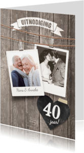 Uitnodigingen - Uitnodiging jubileum foto's hout
