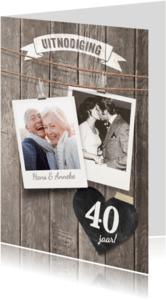 Jubileumkaarten - Uitnodiging jubileum foto's hout