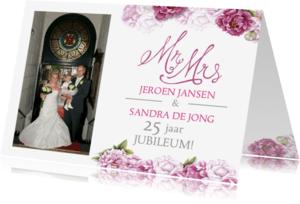 Jubileumkaarten - Uitnodiging jubileum roze rozen
