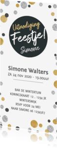 Uitnodigingen - Uitnodiging langwerpig cirkel zwart