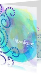 Uitnodigingen - Uitnodiging lijnen watercolour
