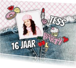 Kinderfeestjes - Uitnodiging meisje patches foto