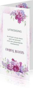 Uitnodigingen - Uitnodiging pensioen paarse bloemen