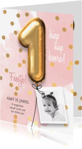 Kinderfeestjes - Uitnodiging verjaardag 1 jaar meisje