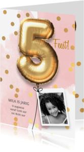 Kinderfeestjes - Uitnodiging verjaardag meisje 5 jaar