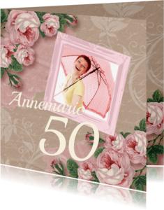 Uitnodigingen - Uitnodiging vintage kraft rozen
