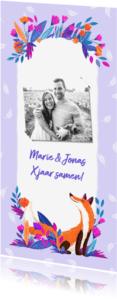 Jubileumkaarten - Uitnodiging Vos met bloemen