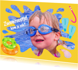 Kinderfeestjes - Uitnodiging Zwemfeestje Eigen Foto