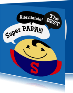 Vaderdag kaarten - Vaderdag kaart Smiley Superman