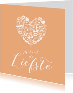Liefde kaarten - Valentijn icoonhart poeder roze