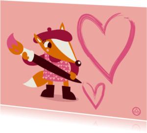 Valentijnskaarten - Valentijnvosje, liefde, NK