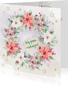 Verhuiskaarten - Verhuis- kerstkaart met kerstrozen