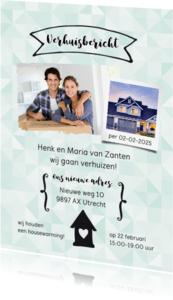 Verhuiskaarten - Verhuisbericht nieuw adres groene ruitjes