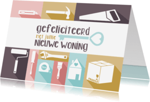 Verhuiskaarten - Verhuiskaart felicitatie pastel gereedschap