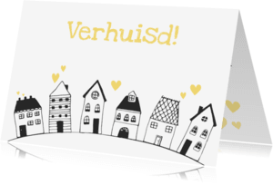 Verhuiskaarten - Verhuiskaart getekende huisjes - SV