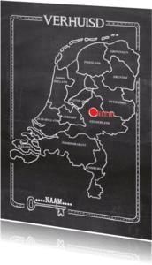 Verhuiskaarten - Verhuiskaart krijtbord landkaart