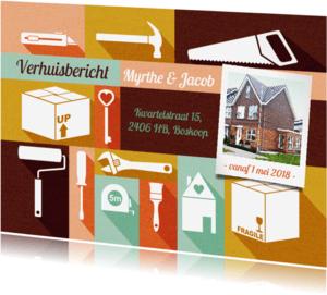 Verhuiskaarten - Verhuiskaart met foto, gereedschap kleurtjes