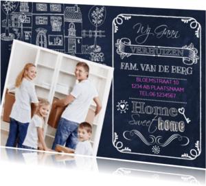 Verhuiskaarten - Verhuiskaart Schoolbord Huis