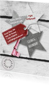 Verhuiskaarten - Verhuiskaart sleutel ster koper