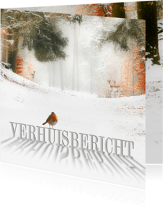 Kerstkaarten - Verhuiskaart winters bos