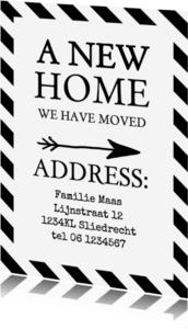Verhuiskaarten - Verhuiskaart zwartwit teksten av
