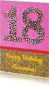 Verjaardagskaarten - Verjaardag 18 glitter
