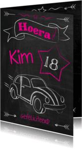 Verjaardagskaarten - Verjaardag 18 jaar auto-ByF