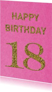 Verjaardagskaarten - Verjaardag 18 roze glitter