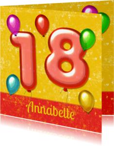 Verjaardagskaarten - verjaardag ballonnen 18 jaar