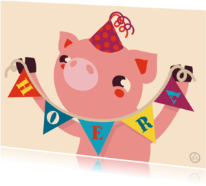 Verjaardagskaarten - Verjaardag biggetje , feest, NK
