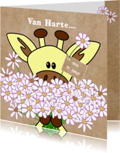Verjaardagskaarten - Verjaardag giraffe met bloemen hartjes