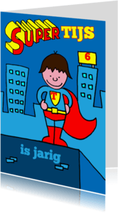 Verjaardagskaarten - verjaardag jongen stoer superman