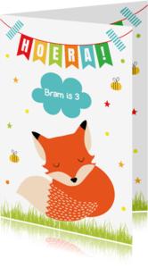 Verjaardagskaarten - Verjaardag Kind vosje slinger