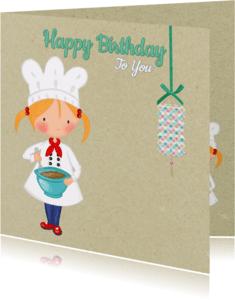 Verjaardagskaarten - Verjaardag kleine Kok meisje