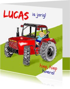 Verjaardagskaarten - Verjaardag op de tractor hoera