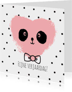 Verjaardagskaarten - Verjaardag Panda Hart