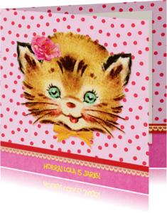 Verjaardagskaarten - Verjaardag Retro Poesje Roze