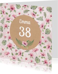 Verjaardagskaarten - Verjaardag tropische bloem