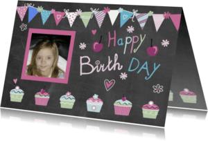 Verjaardagskaarten - verjaardag vlaggetjes