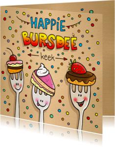 Verjaardagskaarten - Verjaardag vorkjes met taart