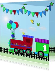 Verjaardagskaarten - Verjaardagkaart stoere trein