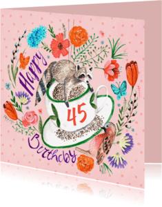 Verjaardagskaarten - Verjaardagskaart Bloemen Wasbeer