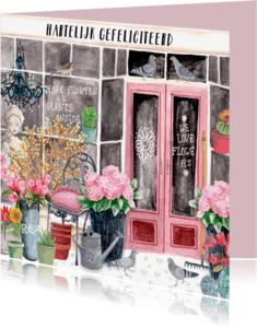 Verjaardagskaarten - Verjaardagskaart Bloemenwinkel