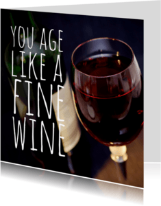 Verjaardagskaarten - Verjaardagskaart glas wijn