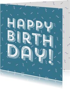 Verjaardagskaarten - Verjaardagskaart hip eighties patroon