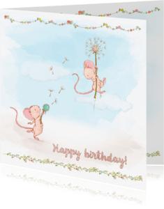 Verjaardagskaarten - Verjaardagskaart lentebloemen-muisjes