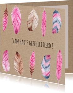 Verjaardagskaarten - Verjaardagskaart met roze veertjes