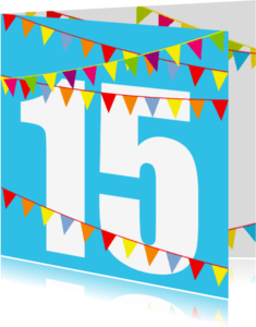 Verjaardagskaarten - Verjaardagskaart met vlaggen 15 jaar