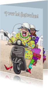 Verjaardagskaarten - Verjaardagskaart Op de scooter