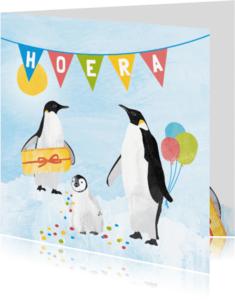 Verjaardagskaarten - Verjaardagskaart pinguins